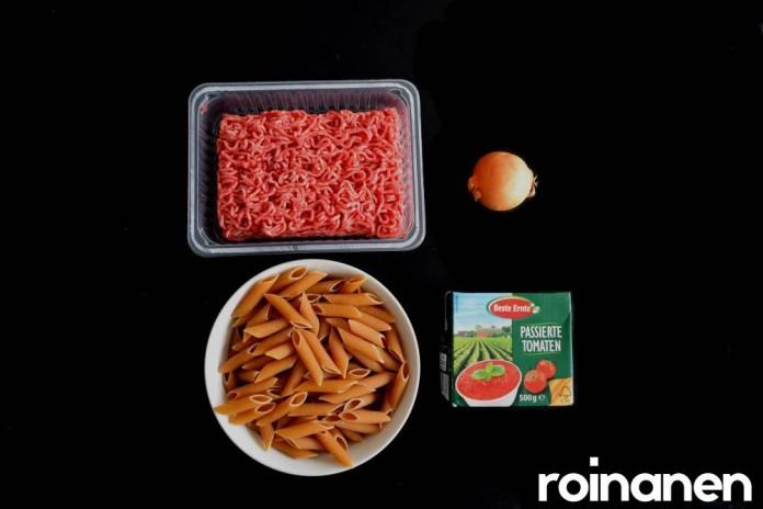 Ruokaa jauhelihasta - pasta-bolognese