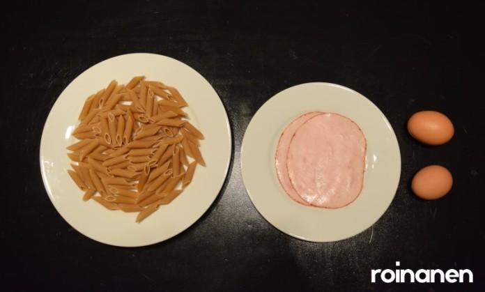 Treeniruokaa: pastaa, munaa ja leikkelettä