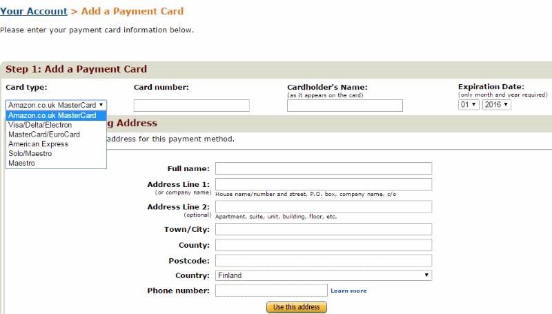 Amazon maksutavat