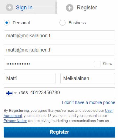 ebay rekisteröityminen