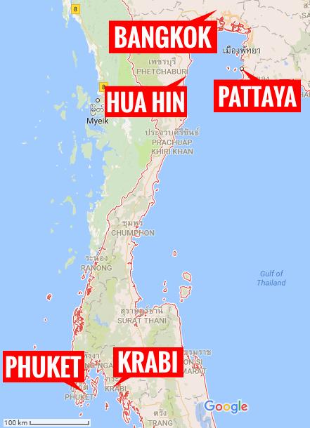 Thaimaan lomakohteet kartalla